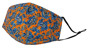 BLUE PAISLEY ON ORANGE munskydd
