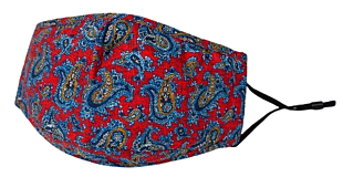 BLUE PAISLEY ON RED munskydd