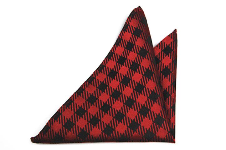Bröstnäsduk, Notch Ossian, Röd med svart rutigt mönster